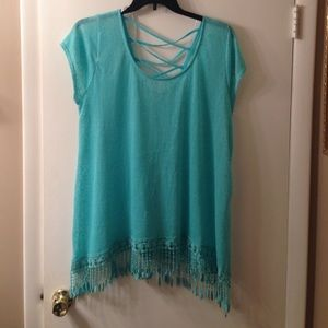 Beautiful mint fringe top