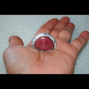 Pink Jasper Roped Ring Size 6