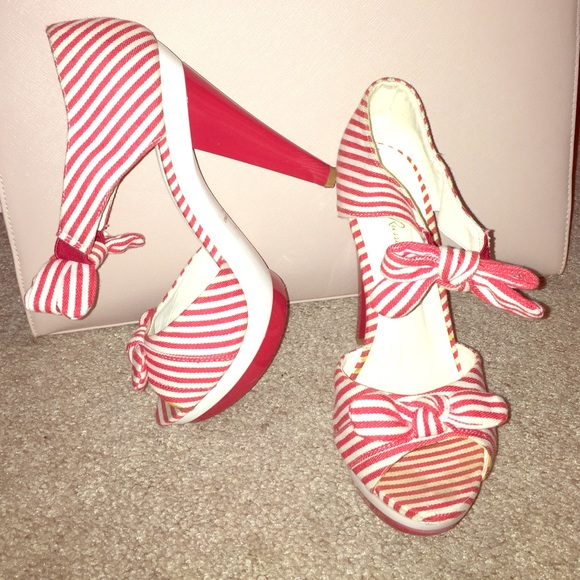 67% off Charlotte Russe Shoes - Red/White Striped Heels from ...