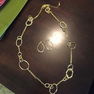 Chloe and Isabel gold earrings and necklace set