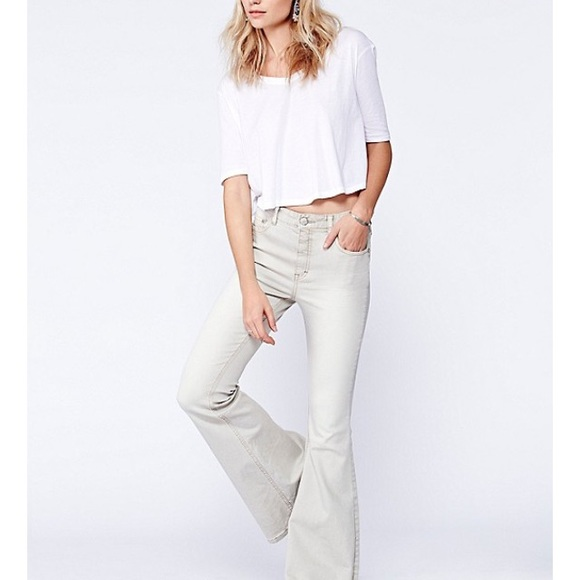 36% off Free People Denim - Free people Chalk colored flare jeans ...