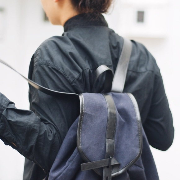 Navy and Black canvas/leather (vegan) Backpack