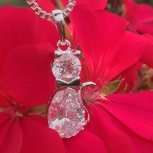 """Jewelry - 😻Adorable 925 Silver 16"""" Kitty Necklace😻"""