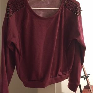50% off Tobi Tops - TOBI spike shoulder burgundy sweater top from ...