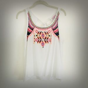 Aztec Embroidered White Lightweight Flowy Tank Top
