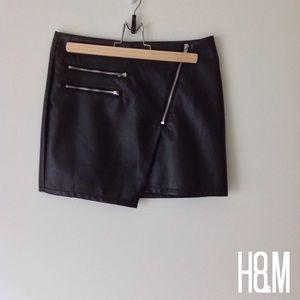 Asymmetrical Black Faux Leather Skirt