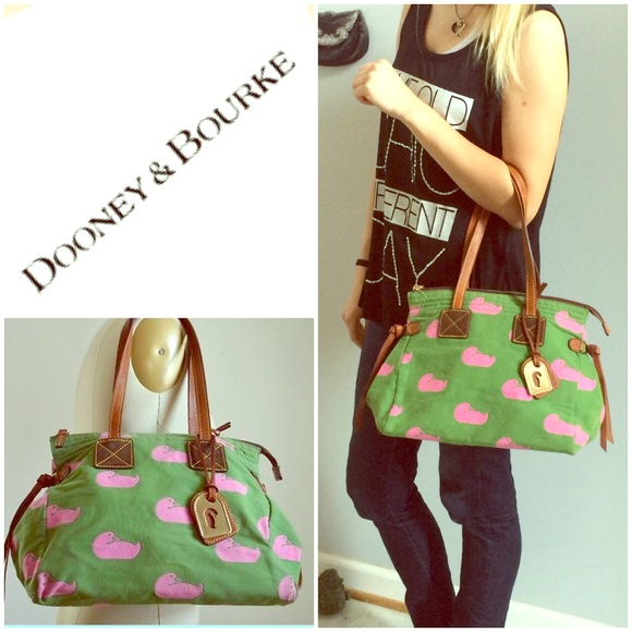 78% off Dooney & Bourke Handbags - Dooney & Bourke Green & Pink ...