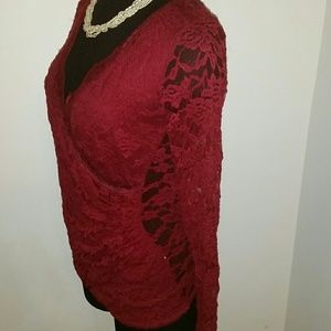 CY USA Tops - Red Lace Top