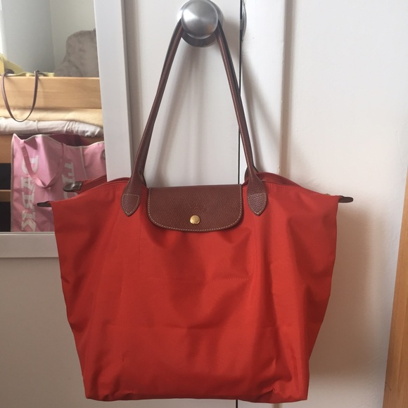 Longchamp Handbags - Longchamp Large Le Pliage in Red Orange fd3936cae0597