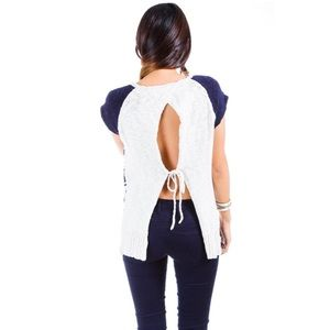 Blue + Ivory Knitted Sleeveless Open Back Sweater