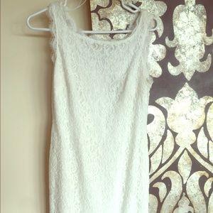 Dresses & Skirts - White Lace dress w/ full length zipper back