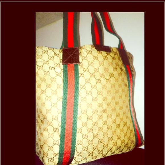 f02b314edb2 Gucci Handbags - GUCCI ORIGINAL GG canvas North south tote bag TAN