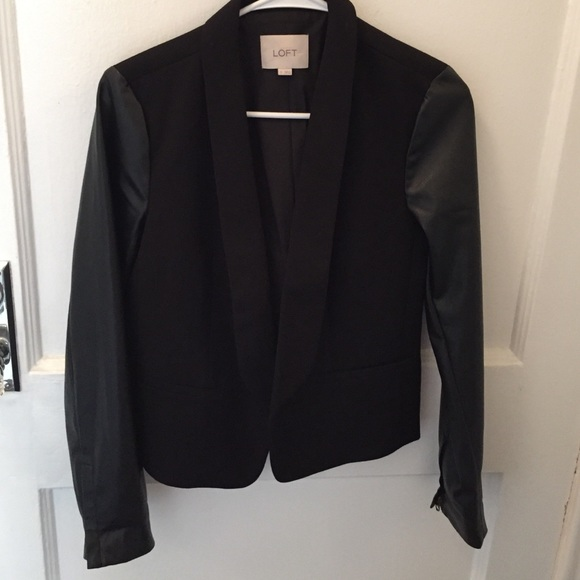 LOFT Jackets & Coats - Faux leather sleeve blazer