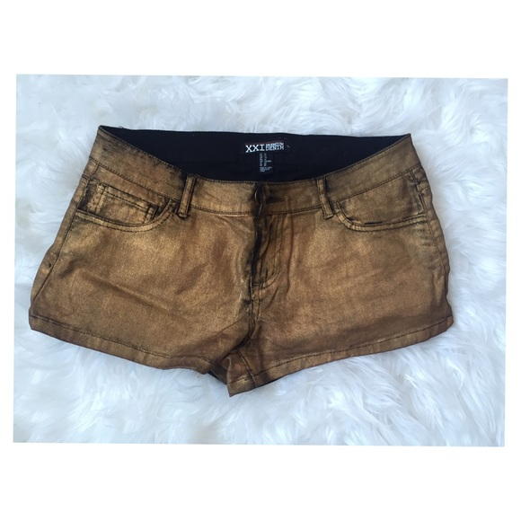 Forever 21 Denim - Metallic gold denim shorts