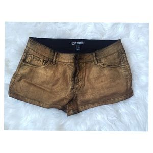 Metallic gold denim shorts