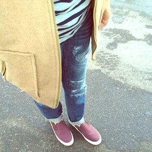 Wine colored slip on shoes