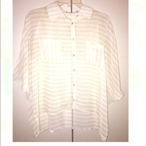 Tops - Sheer open shoulder blouse