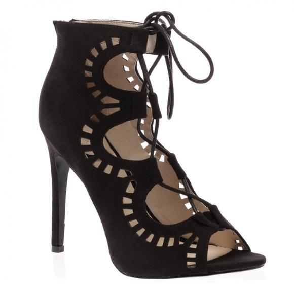 ef64df503b3c Public Desire—Black Faux Suede Lace Up Heel size 5