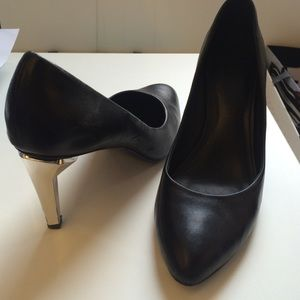Rebecca Minkoff black pumps with silver heel