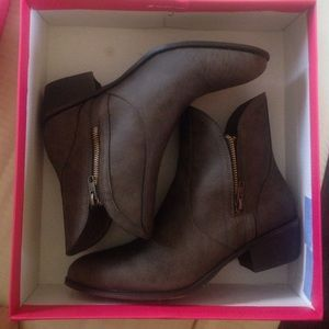 Size 8.5 taupe Melody booties from JustFab