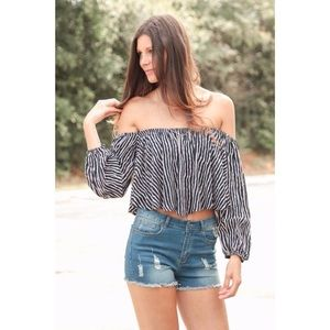 Striped Off The Shoulder Top *NEW*