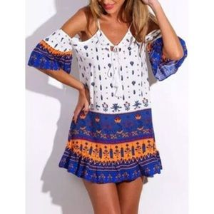 tribal cold shoulder dress