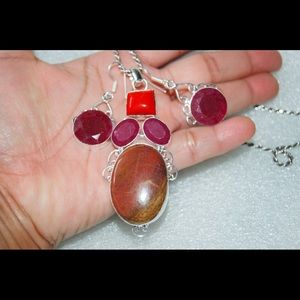 Huge Pendant Jasper,Coral,Ruby & Earrings Set