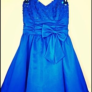 Blue strapless beaded dress