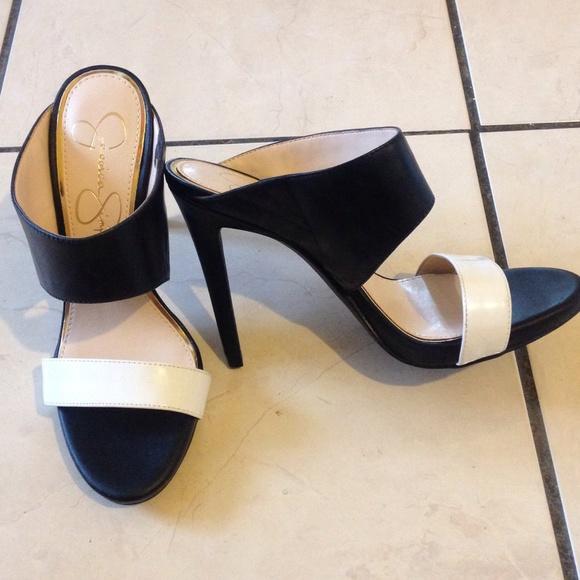 Jessica Simpson Black White Mule Heels