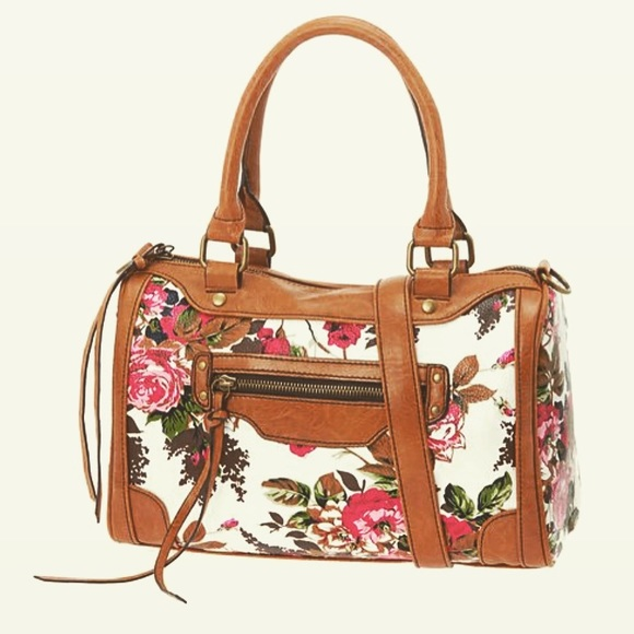 835486719e47 ALDO Handbags - ALDO Floral Purse with Cognac Faux Leather