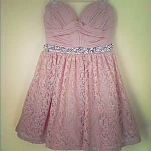 Tan strapless lace dress