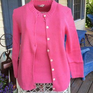 J. Crew pink sweater and shirt set