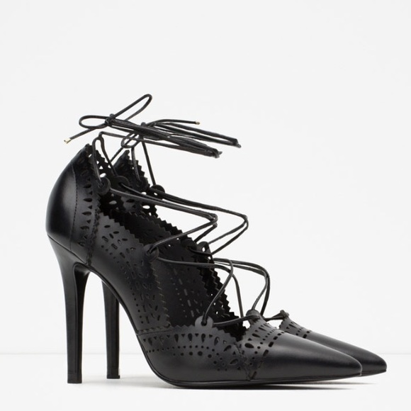 Zara - Zara leather lace up high heel shoes perforated from
