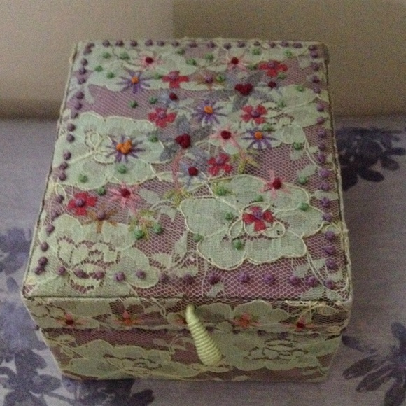 60 off Anthropologie Accessories Lavender Lace Floral Jewelry Box