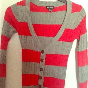 Red an grey sweater
