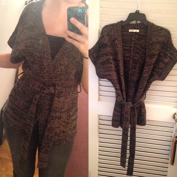71% off Old Navy Sweaters - Black/Brown Belted Cardigan from ...