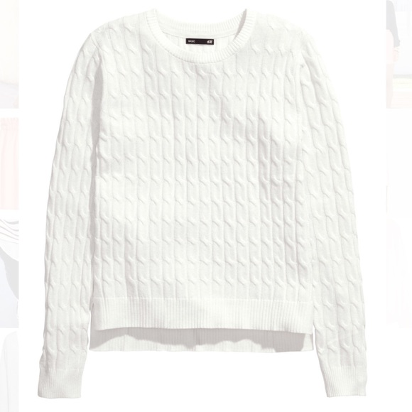 40% off H&M Sweaters -  SOLD - H&M | White Cable Knit Sweater ...