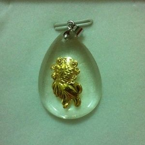 24k real gold in crystal pendant