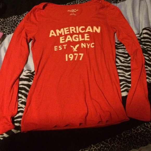 53 Off American Eagle Outfitters Tops Red Long Sleeve