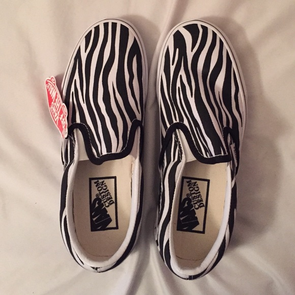 affce081ca3f Women s Custom Zebra Slip on Vans