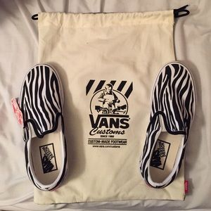 e8e7c78e4286 Vans Shoes - Women s Custom Zebra Slip on Vans