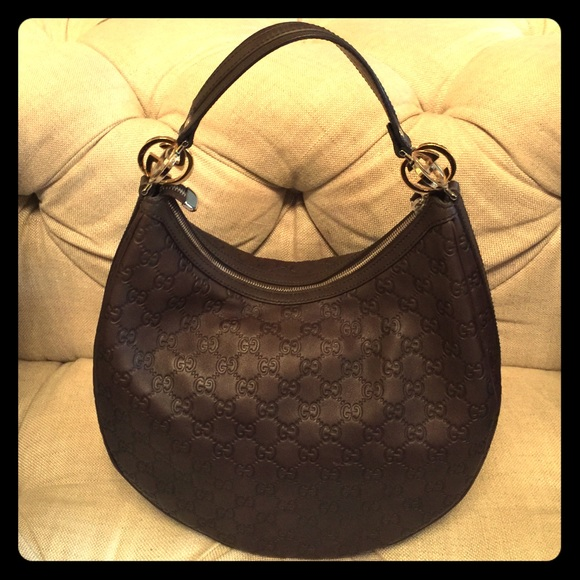GUCCI Guccissima GG Twins Medium Hobo Chocolate
