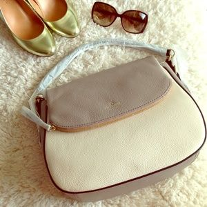 Taupe grey cream ivory colorblock bag purse tote