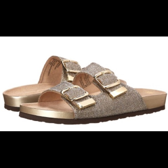 efaa26cee637 NIB White Mountain Glitter Footbed Sandals Size 8