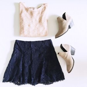 navy lace skirt