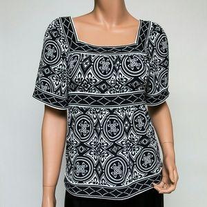 BCBGmaxazria B&W Geometric Short-sleeve Blouse