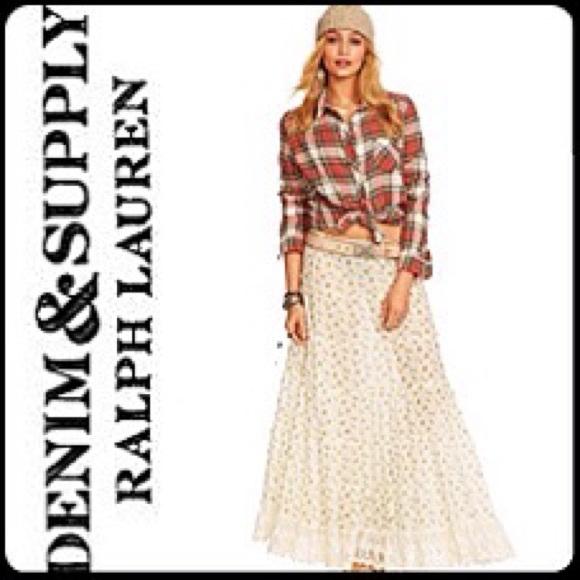 5d787d9422 Ralph Lauren Skirts | Denim Supply Crochet Trim Floral Print Maxi ...