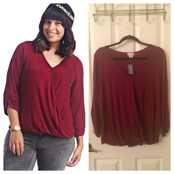 wet seal plus - plus size crossover front burgundy blouse from