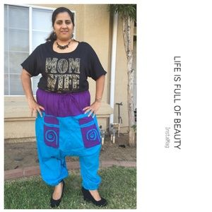 Pants - 🆕 Harem pants in blue and purple