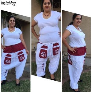 Pants - 🆕 Harem pants in white and red